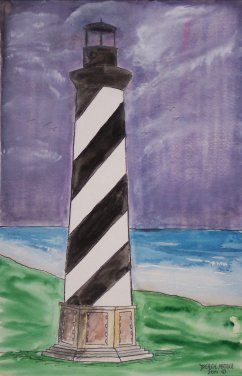 cape hatteras lighthouse original watercolor painting