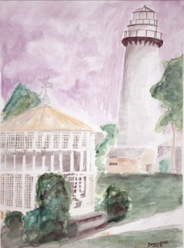 st simons island lighthouse watercolor painting