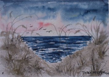 coastal georgia ga seascape watercolor painting