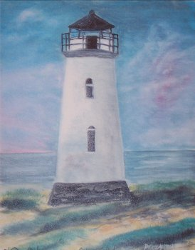 realistic lighthouse watercolor painting