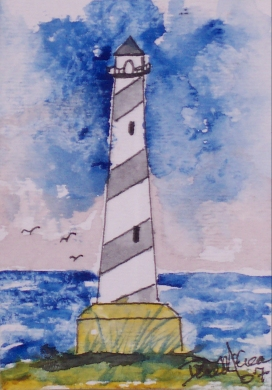 cape hatteras 3 lighthouse watercolor painting