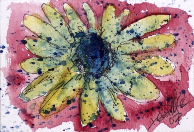 sunflower aceo watercolor painting