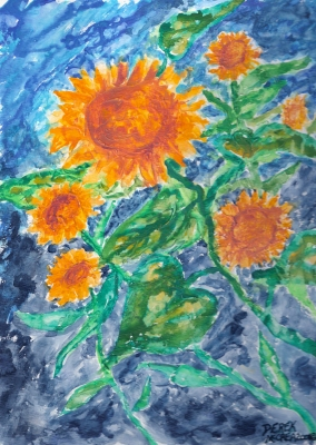 abstract sun flower painting