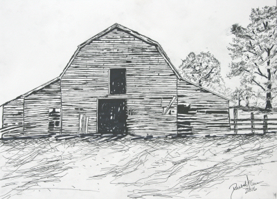 barn pen and ink drawing