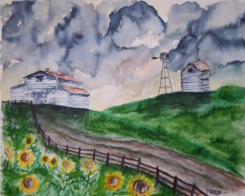 barn with sunflowers painting