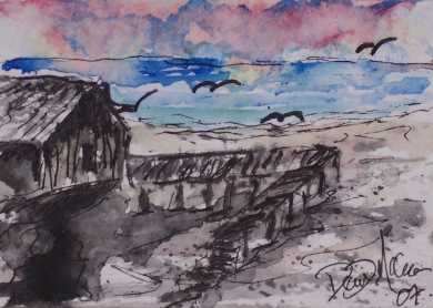 beach house art watercolor painting