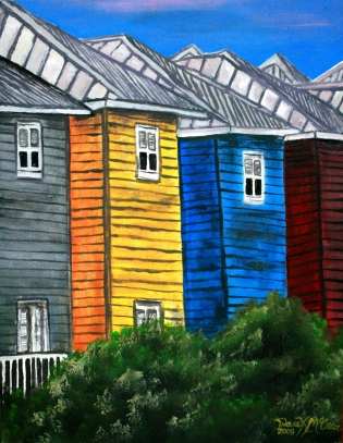 beach houses tropical art painting
