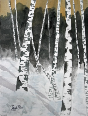 birch tree painting