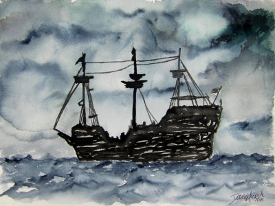 pirate ship watercolor painting