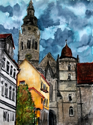 coburg germany cityscape painting