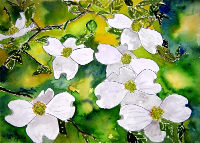 modern art dogwood flowers watercolor painting
