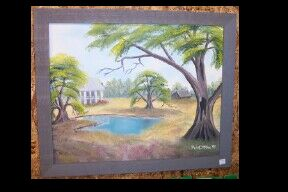 framed plantation house oil painting