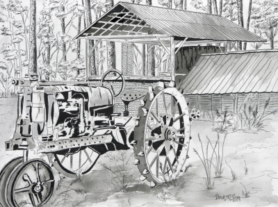 farm tractor drawing