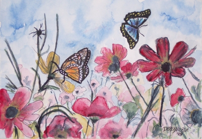 flowers and butterflies painting