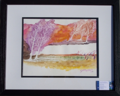 framed abstract landscape watercolor painting