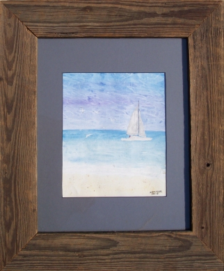 framed seascape watercolor painting