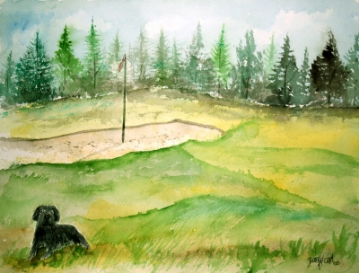 golf course watercolor painting