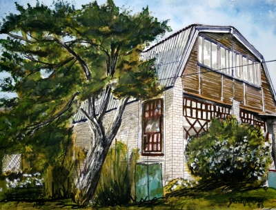 house painting watercolor