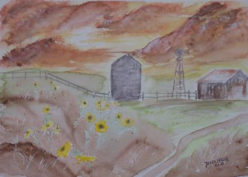 sunflowers landscape watercolor painting
