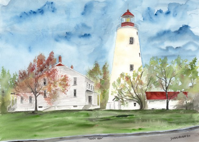 lighthouse watercolor painting