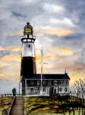 montauk point lighthouse watercolor painting