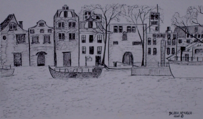 Amsterdam art pen and ink drawing