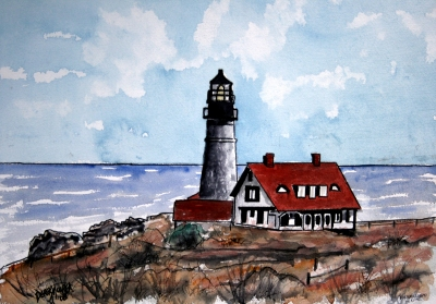 portland head lighthouse painting