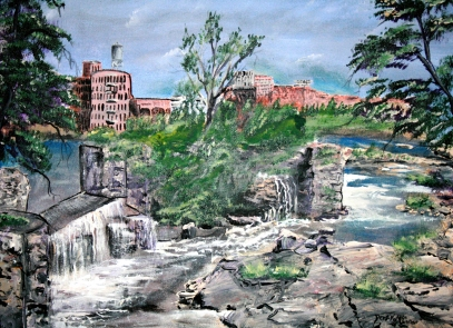 river waterfall landscape painting