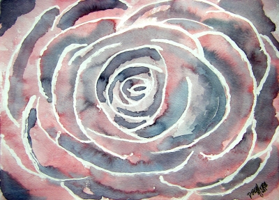 rose flower watercolor painting