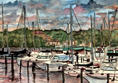 sailboats painting