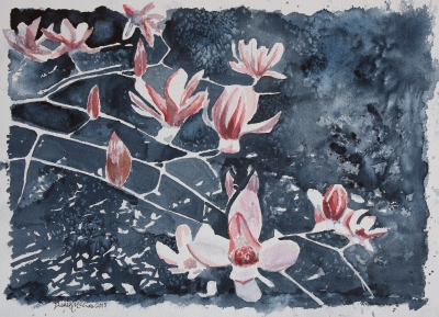 pink saucer magnolia flowers painting