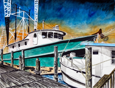shrimp boat painting