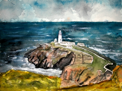 south stack lighthouse painting