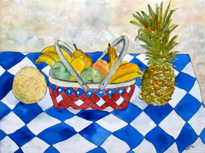 large still life fruit basket painting 5