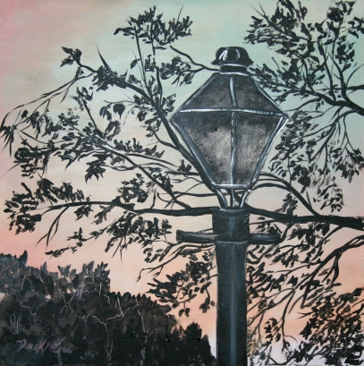 street light acrylic painting