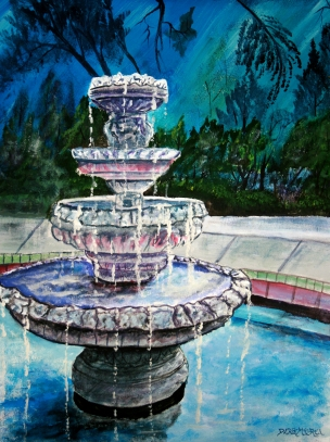 water fountain acrylic painting