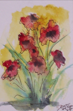 wildflower bouquet aceo watercolor painting