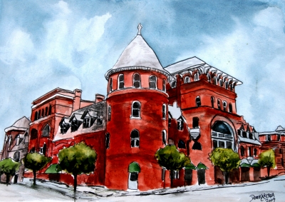 windsor hotel americus ga pen and ink drawing